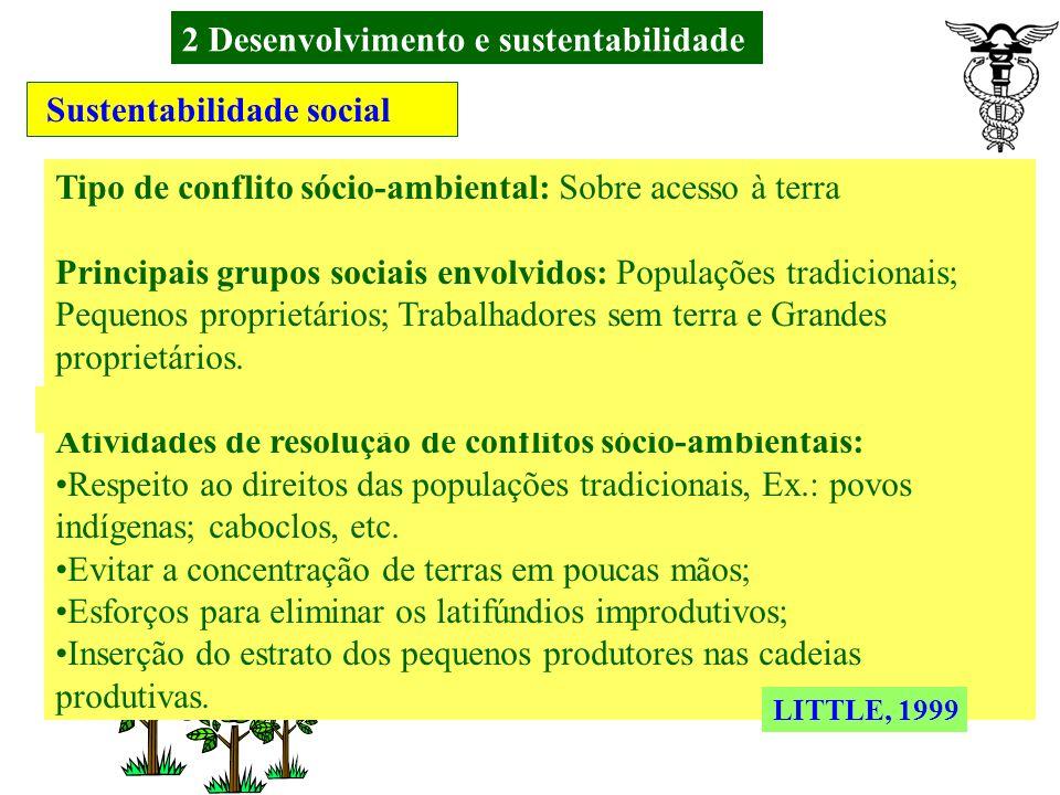 2 Desenvolvimento e sustentabilidade Sustentabilidade biofísica Atividade ambiental: Preservação dos ecossistemas; Principais áreas de preocupação: De