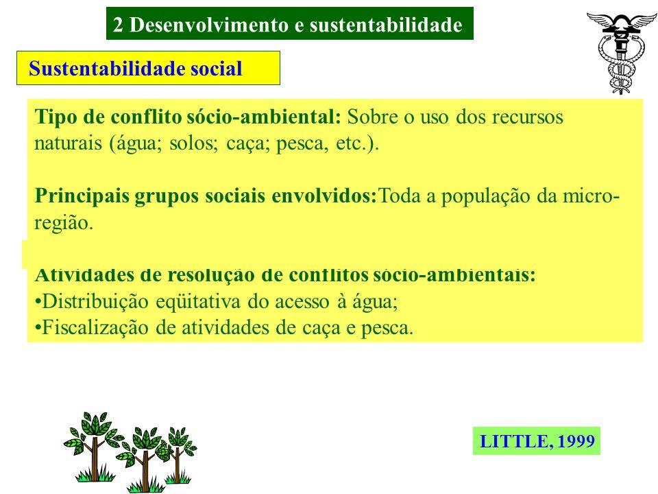 2 Desenvolvimento e sustentabilidade Sustentabilidade social Tipo de conflito sócio-ambiental: Sobre acesso à terra Principais grupos sociais envolvidos: Populações tradicionais; Pequenos proprietários; Trabalhadores sem terra e Grandes proprietários.