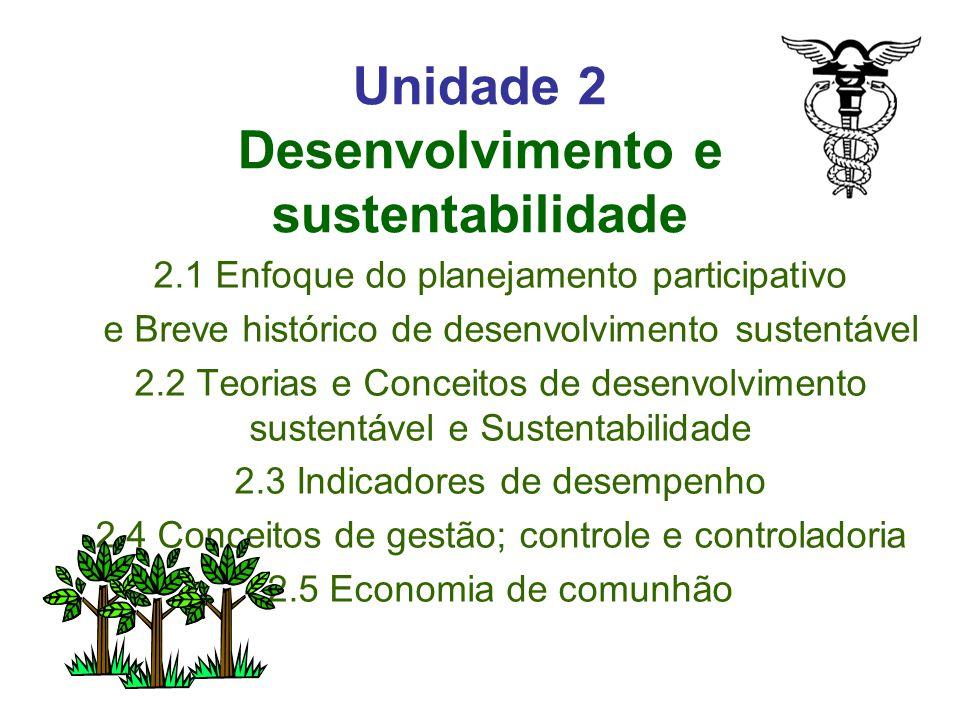 Unidade 2 Desenvolvimento e sustentabilidade 2.1 Enfoque do planejamento participativo e Breve histórico de desenvolvimento sustentável 2.2 Teorias e Conceitos de desenvolvimento sustentável e Sustentabilidade 2.3 Indicadores de desempenho 2.4 Conceitos de gestão; controle e controladoria 2.5 Economia de comunhão