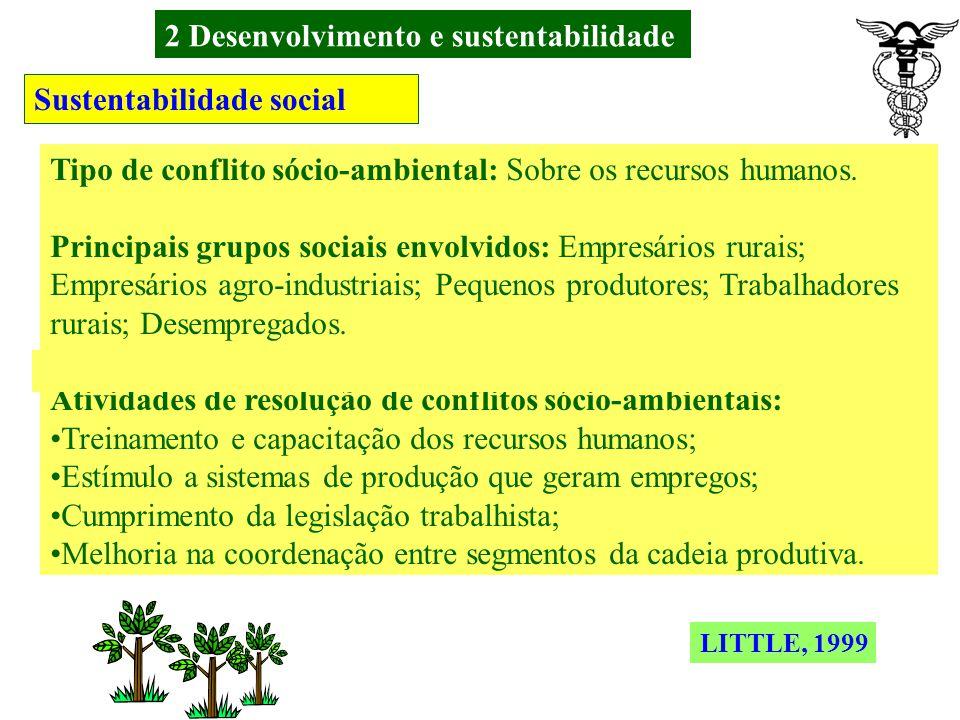 2 Desenvolvimento e sustentabilidade Sustentabilidade social Tipo de conflito sócio-ambiental: Sobre o uso dos recursos naturais (água; solos; caça; p