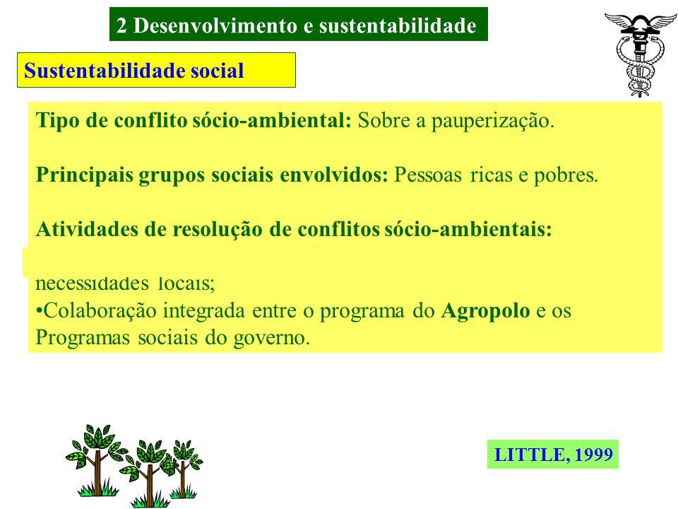 2 Desenvolvimento e sustentabilidade Sustentabilidade social Tipo de conflito sócio-ambiental: Sobre os recursos humanos. Principais grupos sociais en