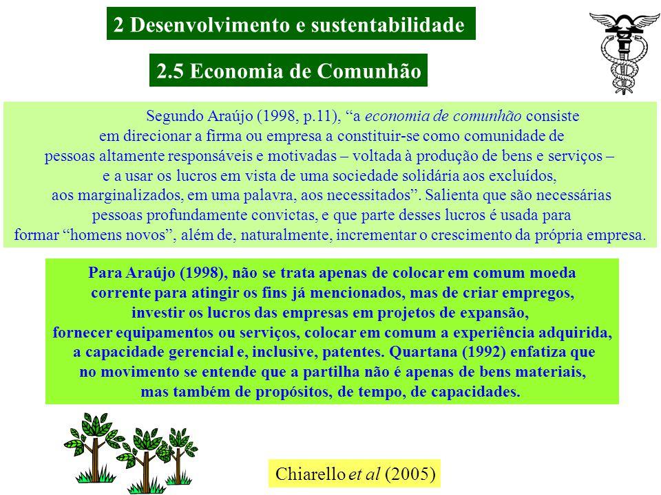 2.5 Economia de Comunhão Godoy et al (2007) A contabilidade, preocupada com a divulgação das informações úteis aos gestores e aos usuários internos e