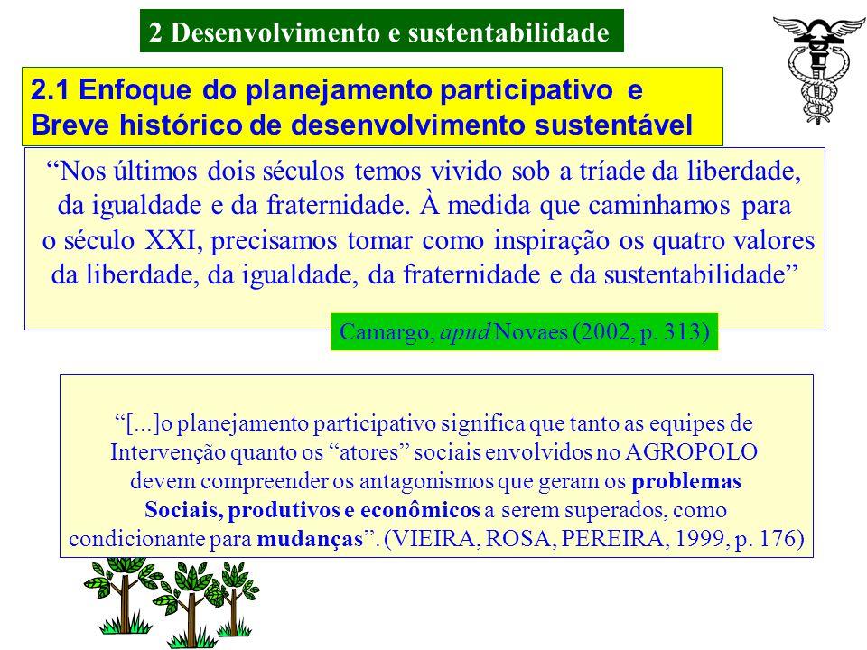 2 Desenvolvimento e sustentabilidade 2.1 Enfoque do planejamento participativo e Breve histórico de desenvolvimento sustentável As idéias que levam ao