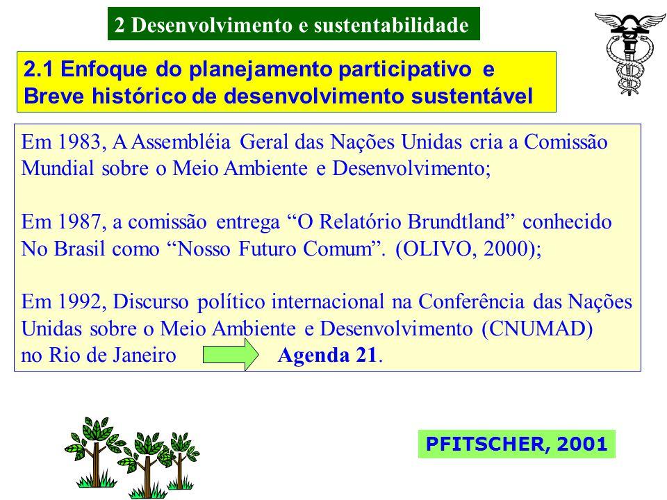 2 Desenvolvimento e sustentabilidade Segundo Olivo (2000, p.72) quando interpreta Gusmán (1998, p.24), o desenvolvimento sustentável teve um marco nos anos 70, quando da Pressão de movimentos ambientalistas.