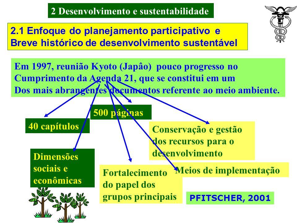 2 Desenvolvimento e sustentabilidade Em 1983, A Assembléia Geral das Nações Unidas cria a Comissão Mundial sobre o Meio Ambiente e Desenvolvimento; Em