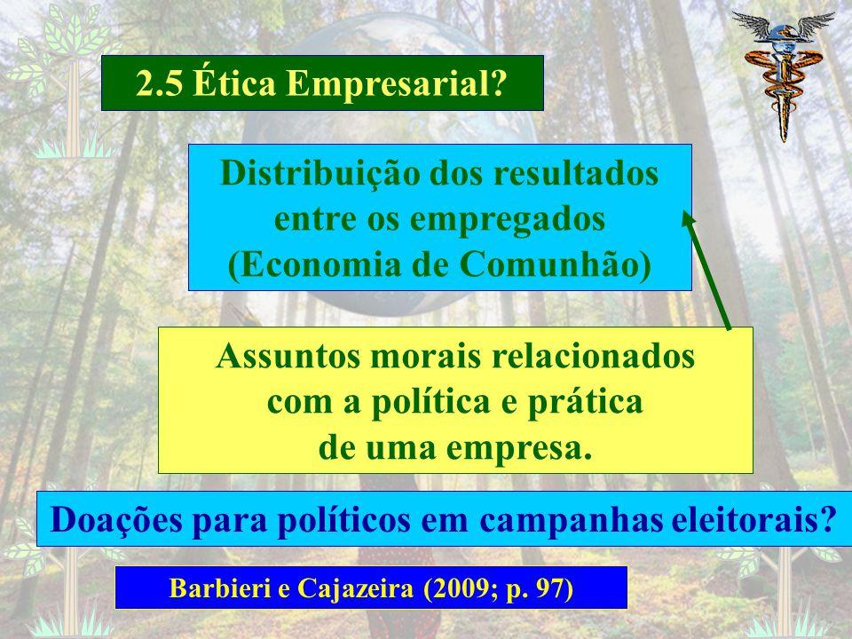 2.5 Ética Empresarial? Barbieri e Cajazeira (2009; p. 97) Conhecer os sistemas econômicos; políticos e jurídicos das empresas individualmente – 5W2H M