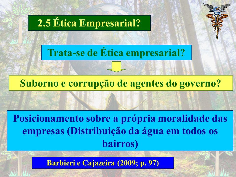 2.5 Ética Empresarial? Barbieri e Cajazeira (2009; p. 97) Distribuição dos resultados entre os empregados (Economia de Comunhão) Assuntos morais relac