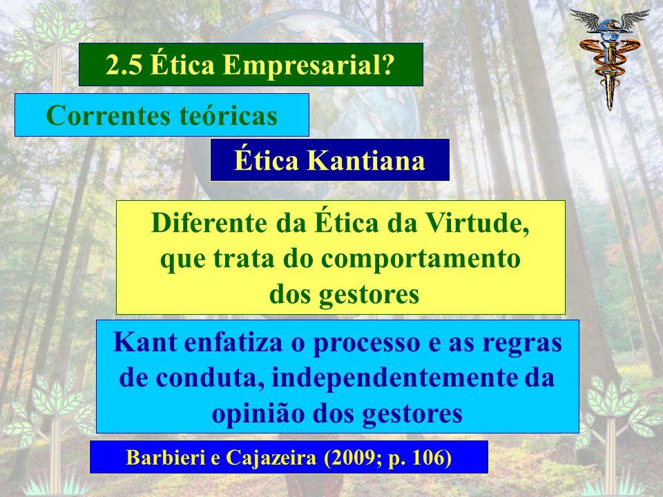 2.5 Ética Empresarial? Barbieri e Cajazeira (2009; p. 105) Ética da Virtude Honestidade; justiça e credibilidade O comportamento moral da empresa como