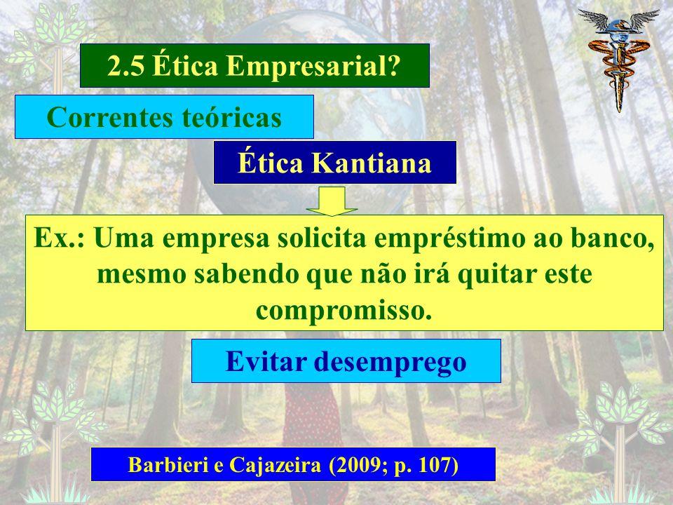 2.5 Ética Empresarial? Barbieri e Cajazeira (2009; p. 106) Ética Kantiana Diferente da Ética da Virtude, que trata do comportamento dos gestores Kant