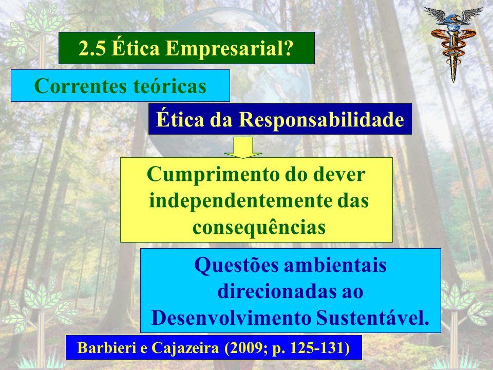 2.5 Ética Empresarial? Barbieri e Cajazeira (2009; p. 107) Ética Kantiana Ação correta para atender à uma sociedade (Gestão dos Sepulcrários - Cemitér