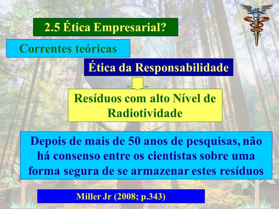 2.5 Ética Empresarial? Barbieri e Cajazeira (2009; p. 125-131) Ética da Responsabilidade Cumprimento do dever independentemente das consequências Ques