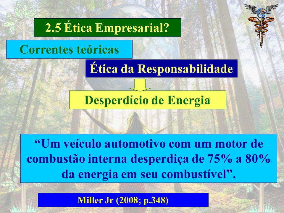 2.5 Ética Empresarial? Miller Jr (2008; p.343) Ética da Responsabilidade Resíduos com alto Nível de Radiotividade Depois de mais de 50 anos de pesquis