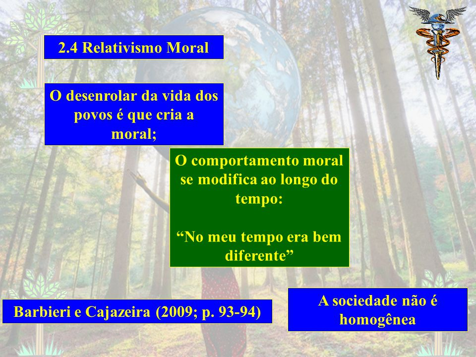 2.4 Relativismo Moral O desenrolar da vida dos povos é que cria a moral; O comportamento moral se modifica ao longo do tempo: No meu tempo era bem diferente A sociedade não é homogênea Barbieri e Cajazeira (2009; p.