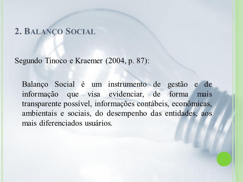 2. B ALANÇO S OCIAL Segundo Tinoco e Kraemer (2004, p. 87): Balanço Social é um instrumento de gestão e de informação que visa evidenciar, de forma ma