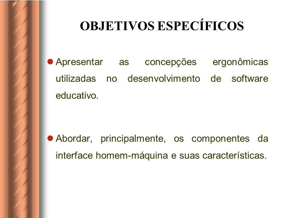OBJETIVOS ESPECÍFICOS Apresentar as concepções ergonômicas utilizadas no desenvolvimento de software educativo.