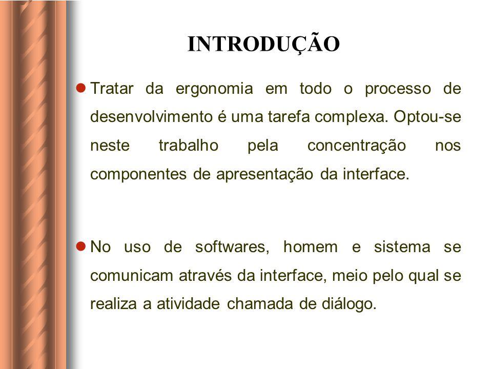 OBJETIVOS ESPECÍFICOS Apresentar as concepções ergonômicas utilizadas no desenvolvimento de software educativo. Abordar, principalmente, os componente