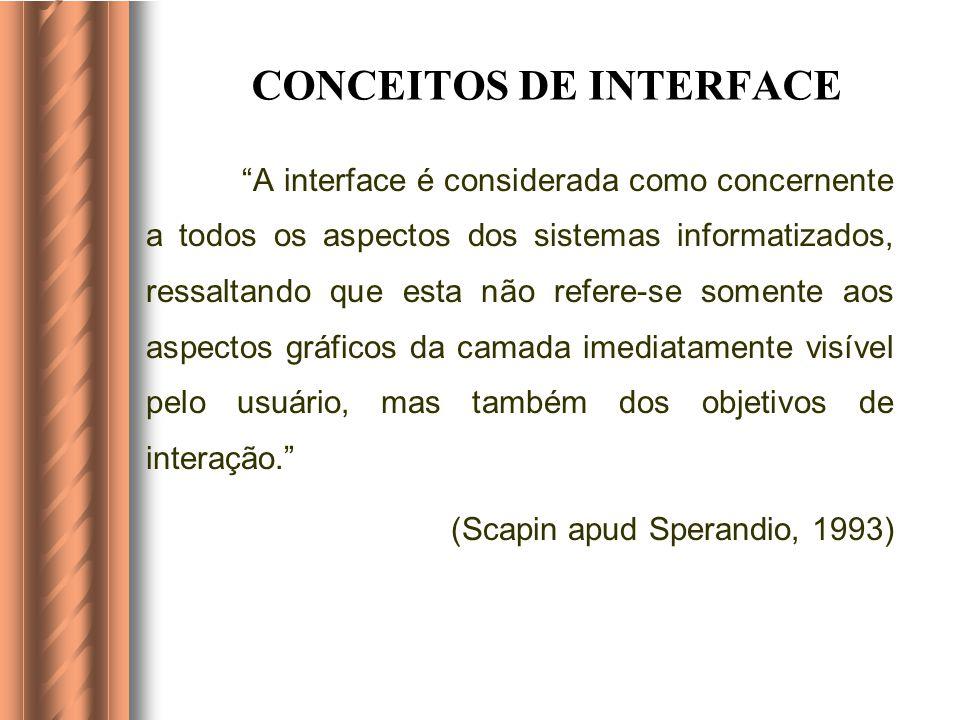 CONCEITOS DE INTERFACE A interface é considerada como concernente a todos os aspectos dos sistemas informatizados, ressaltando que esta não refere-se somente aos aspectos gráficos da camada imediatamente visível pelo usuário, mas também dos objetivos de interação.