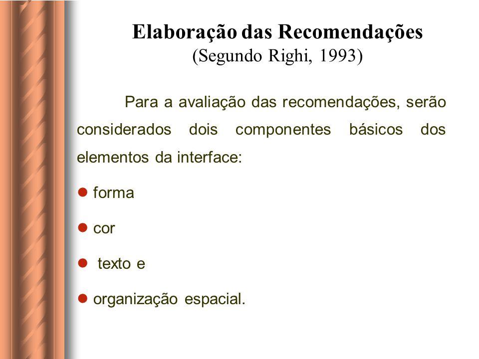 UTILIZAÇÃO DA ERGONOMIA A organização dos elementos que constituem a interface (textos, ícones, etc) a partir de suas características intrafigurais (b