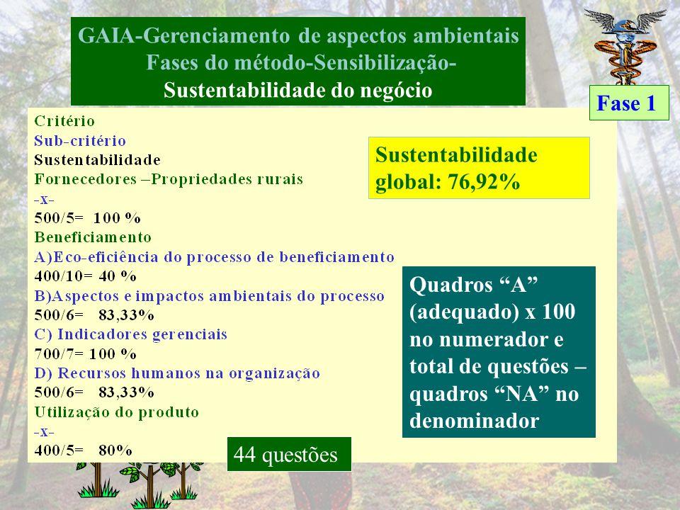GAIA-Gerenciamento de aspectos ambientais Fases do método-Sensibilização Breve histórico da empresa GAIA – melhoria desempenho ambiental e sustentabil