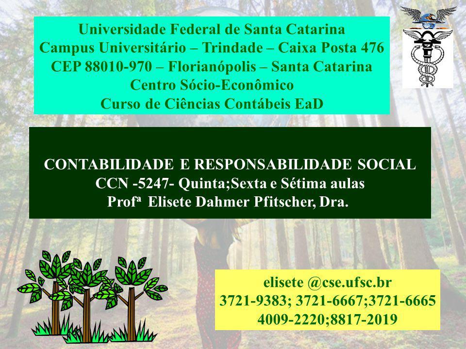 CONTABILIDADE E RESPONSABILIDADE SOCIAL CCN -5247- Quinta;Sexta e Sétima aulas Prof a Elisete Dahmer Pfitscher, Dra.