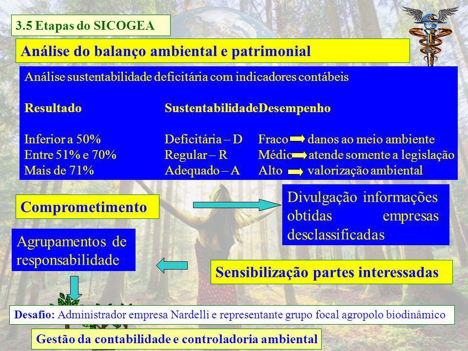 Gestão da contabilidade e controladoria ambiental Lista de verificação 161 questões Empresas rurais Critério 2- Cultivo de arroz a) Eco-eficiência no cultivo Conforme atividade empresa 3.5 Etapas do SICOGEA