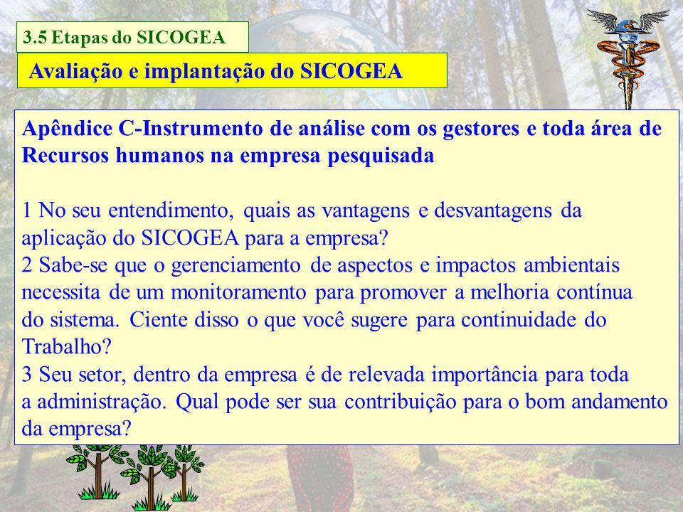Gestão da contabilidade e controladoria ambiental Avaliação e implantação do SICOGEA 3.5 Etapas do SICOGEA