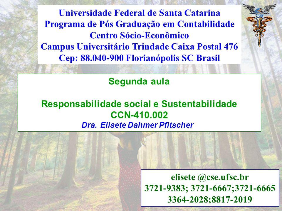 Segunda aula Responsabilidade social e Sustentabilidade CCN-410.002 Dra.