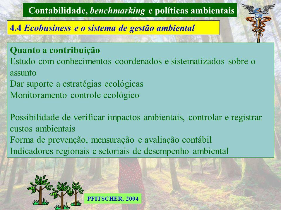 Contabilidade, benchmarking e políticas ambientais 4.4 Ecobusiness e o sistema de gestão ambiental Custos, certificações e reciclagens ecobusiness Agricultura – Parcerias com famílias de pequenos produtores – sustentabilidade social.