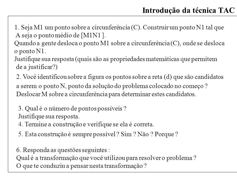 Introdução da técnica TAC 1. Seja M1 um ponto sobre a circunferência (C). Construir um ponto N1 tal que A seja o ponto médio de [M1N1 ]. Quando a gent