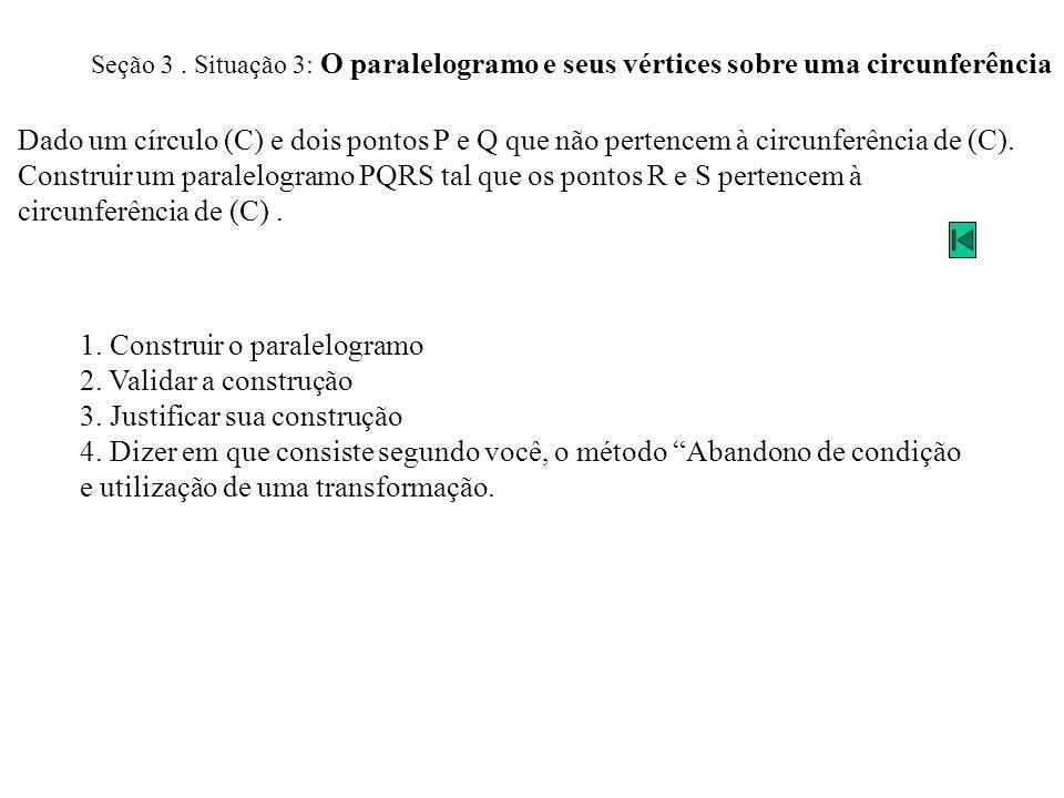 Seção 3. Situação 3: O paralelogramo e seus vértices sobre uma circunferência Dado um círculo (C) e dois pontos P e Q que não pertencem à circunferênc