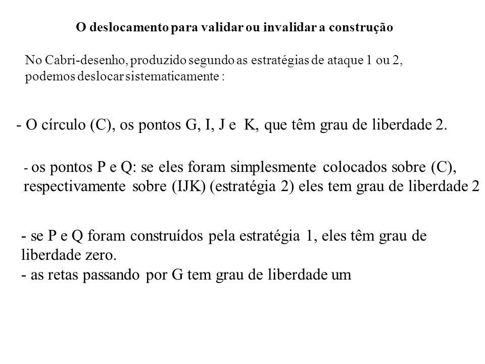 O deslocamento para validar ou invalidar a construção No Cabri-desenho, produzido segundo as estratégias de ataque 1 ou 2, podemos deslocar sistematic