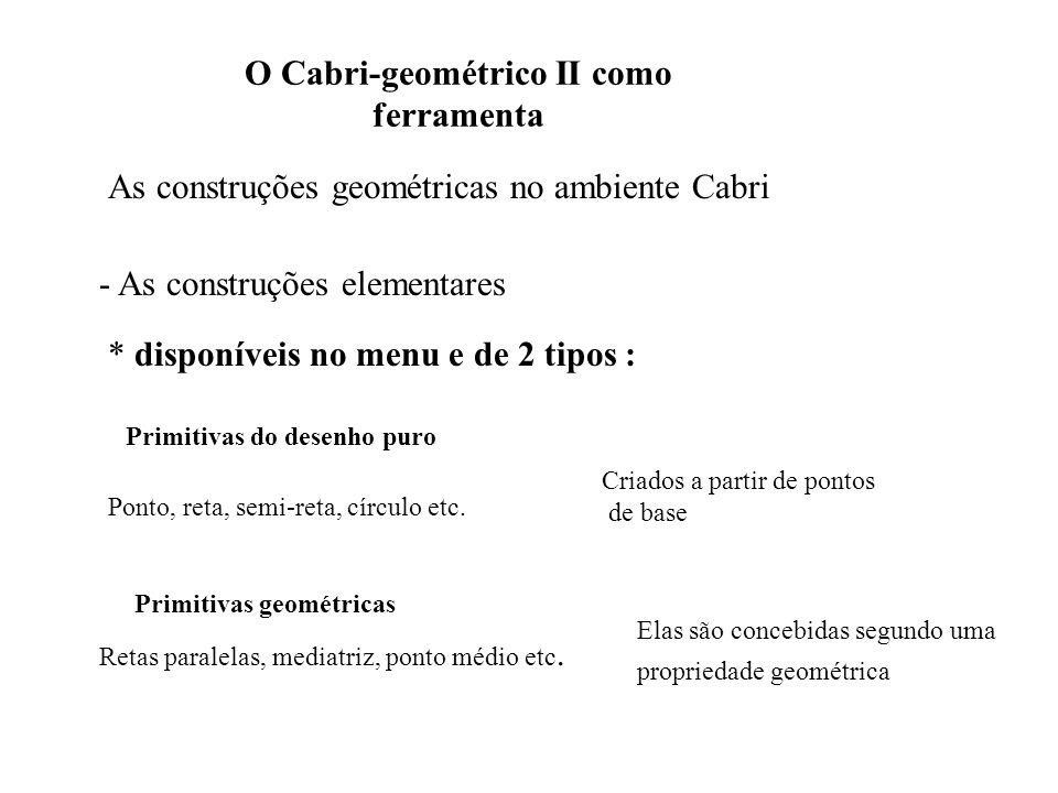 O Cabri-geométrico II como ferramenta O programa Cabri-geométrico foi concebido com a idéia que a passagem pelas primitivas geométricas deveria favorisar os conhecimentos geométricos (Laborde e Capponi ; 1994) A solução de um problema de construção no Cabri é um Cabri-desenho.