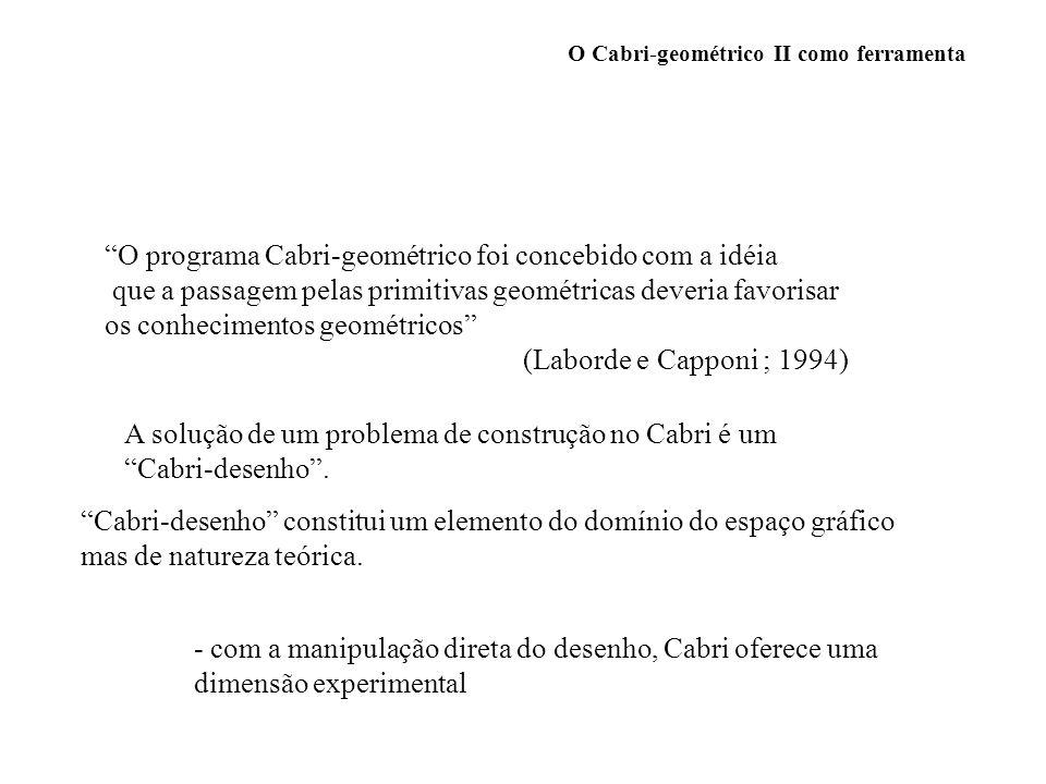 O Cabri-geométrico II como ferramenta Validação de uma solução com Cabri : Deslocamento : o Cabri-desenho se deforma conservando as propriedades geométricas que permitiram a construção e aquelas que derivam numa geometria euclidiana.