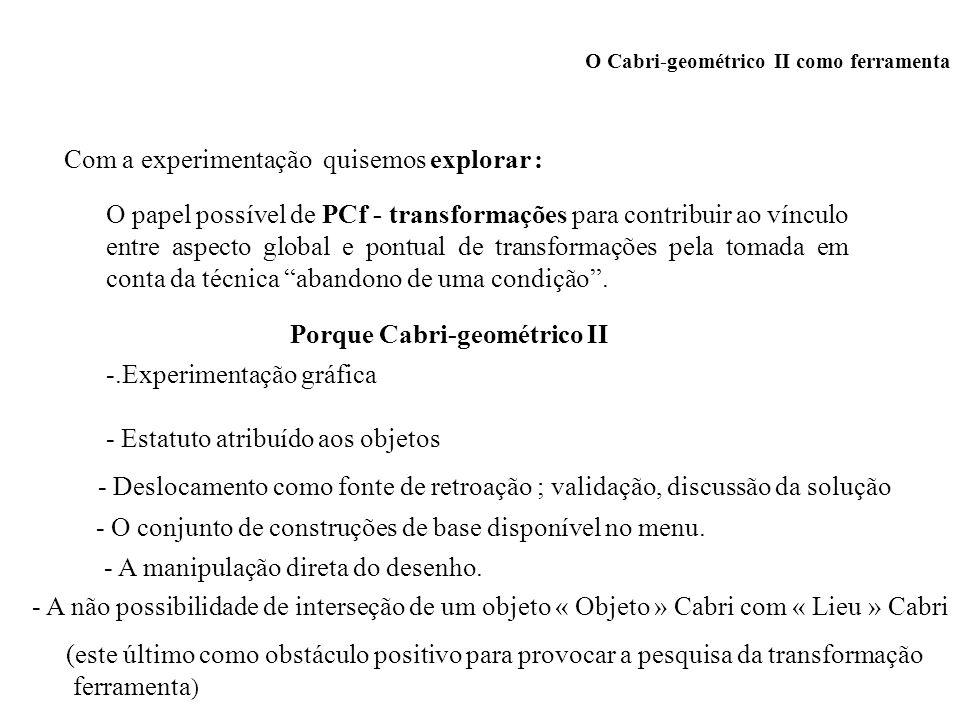 O Cabri-geométrico II como ferramenta Com a experimentação quisemos explorar : O papel possível de PCf - transformações para contribuir ao vínculo ent
