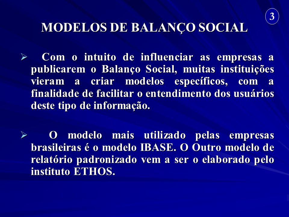 MODELOS DE BALANÇO SOCIAL Com o intuito de influenciar as empresas a publicarem o Balanço Social, muitas instituições vieram a criar modelos específic