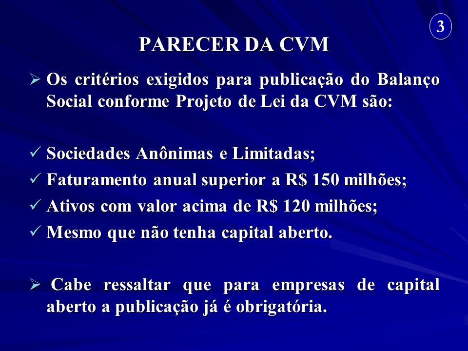 PARECER DA CVM Os critérios exigidos para publicação do Balanço Social conforme Projeto de Lei da CVM são: Os critérios exigidos para publicação do Ba