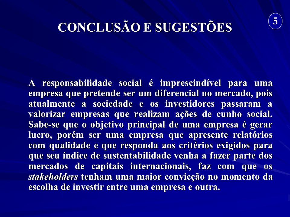 CONCLUSÃO E SUGESTÕES A responsabilidade social é imprescindível para uma empresa que pretende ser um diferencial no mercado, pois atualmente a socied