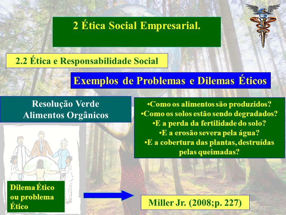 2.2 Ética e Responsabilidade Social 2 Ética Social Empresarial. Miller Jr. (2008;p. 227) Exemplos de Problemas e Dilemas Éticos [...] proteger as espé