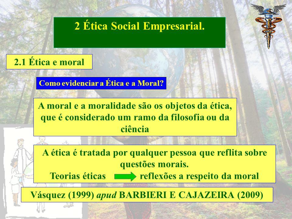 2.1 Ética e moral 2 Ética Social Empresarial. Moral Ética Barbieri e Cajazeira (2009) Normas e Valores aceitos pela sociedade Conduta orientada por es