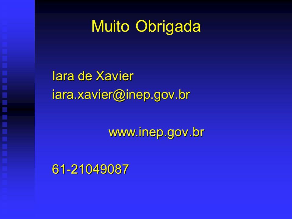 Muito Obrigada Iara de Xavier Iara de Xavier iara.xavier@inep.gov.br iara.xavier@inep.gov.brwww.inep.gov.br 61-21049087 61-21049087