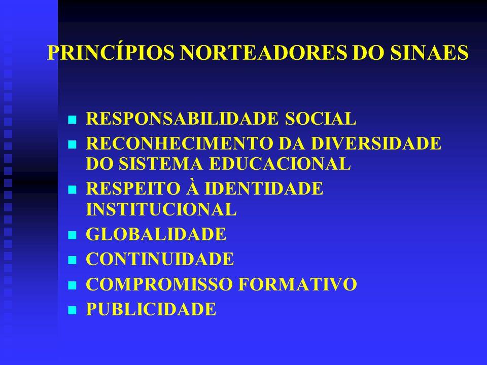 PRINCÍPIOS NORTEADORES DO SINAES RESPONSABILIDADE SOCIAL RECONHECIMENTO DA DIVERSIDADE DO SISTEMA EDUCACIONAL RESPEITO À IDENTIDADE INSTITUCIONAL GLOBALIDADE CONTINUIDADE COMPROMISSO FORMATIVO PUBLICIDADE