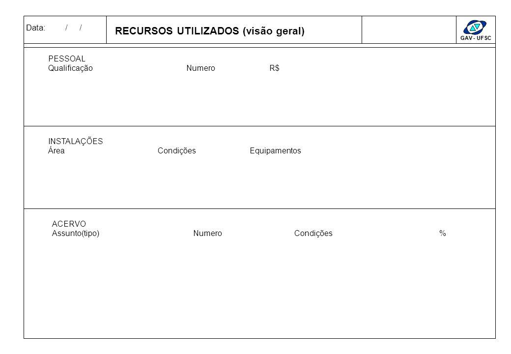 Data: / / GAV - UFSC RELEVANCIACRITÉRIOMEDIDA DE DESEMPENHO CRITÉRIOS & RELEVANCIA & MEDIDAS Ganhador de Clientes Qualificador Pouco Relevante