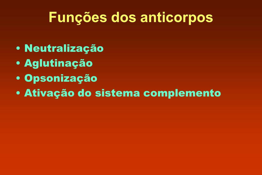 Funções dos anticorpos Neutralização Aglutinação Opsonização Ativação do sistema complemento