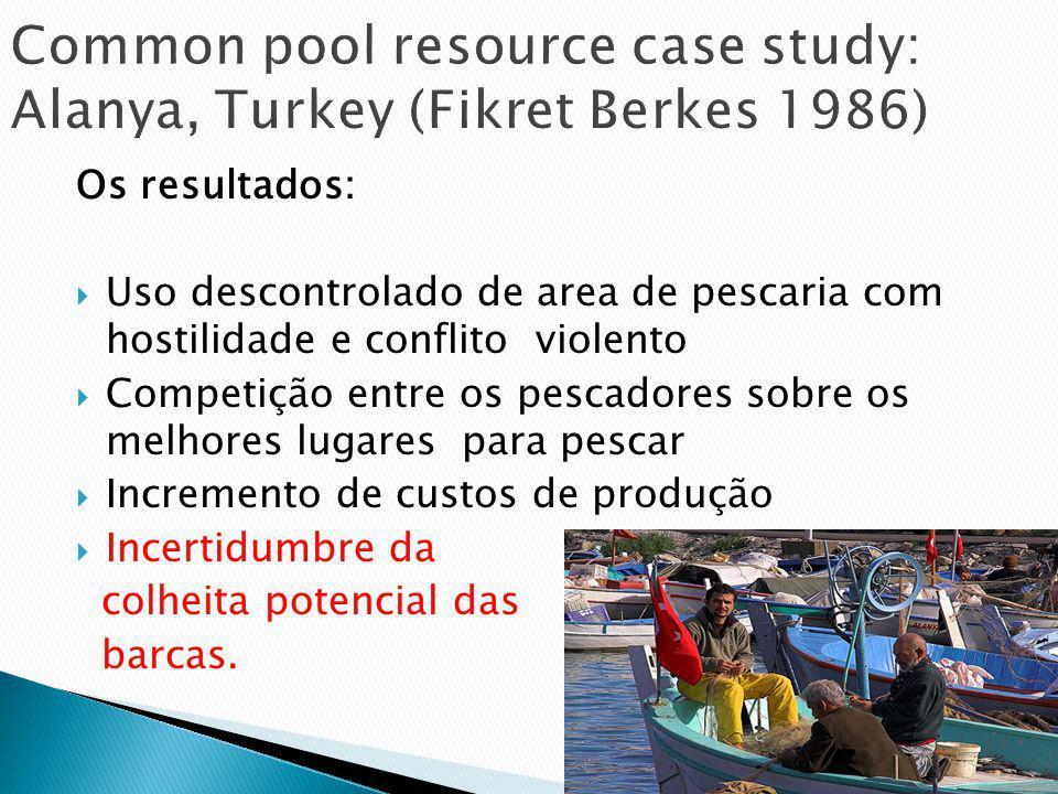 Os resultados: Uso descontrolado de area de pescaria com hostilidade e conflito violento Competição entre os pescadores sobre os melhores lugares para pescar Incremento de custos de produção Incertidumbre da colheita potencial das barcas.