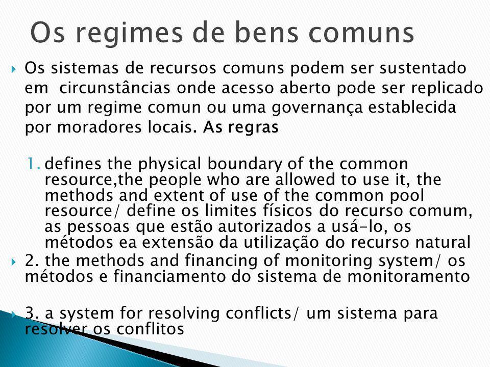Os sistemas de recursos comuns podem ser sustentado em circunstâncias onde acesso aberto pode ser replicado por um regime comun ou uma governança establecida por moradores locais.
