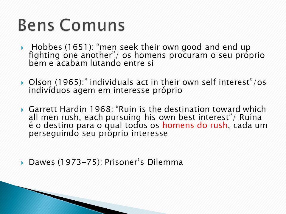 Hobbes (1651): men seek their own good and end up fighting one another/ os homens procuram o seu próprio bem e acabam lutando entre si Olson (1965): i