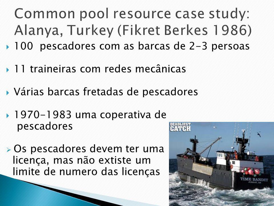 100 pescadores com as barcas de 2-3 persoas 11 traineiras com redes mecânicas Várias barcas fretadas de pescadores 1970-1983 uma coperativa de pescadores Os pescadores devem ter uma licença, mas não extiste um limite de numero das licenças