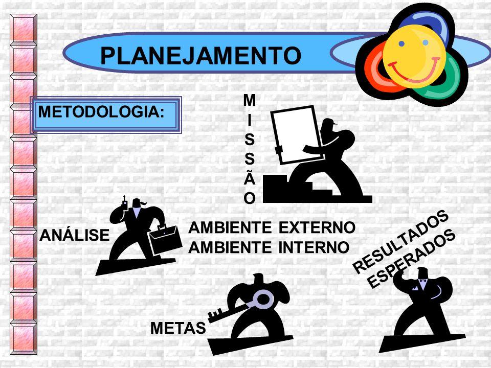 PLANEJAMENTO METODOLOGIA: MISSÃOMISSÃO AMBIENTE EXTERNO AMBIENTE INTERNO ANÁLISE METAS RESULTADOS ESPERADOS