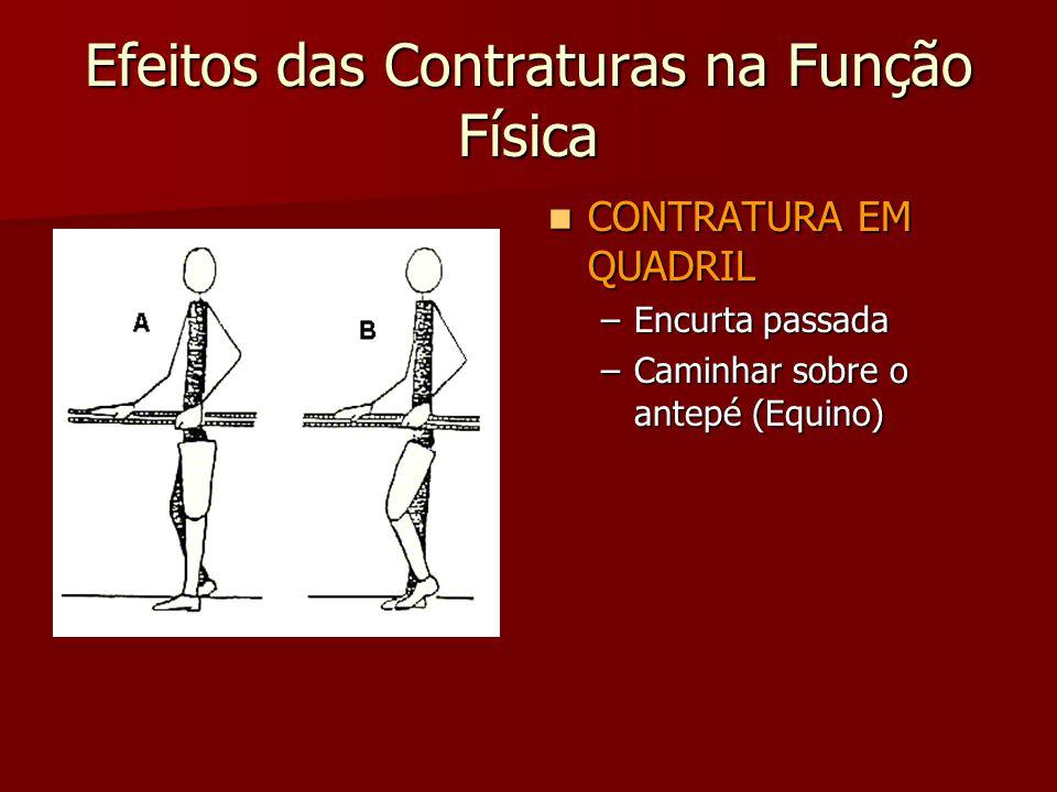 Efeitos das Contraturas na Função Física CONTRATURA EM QUADRIL CONTRATURA EM QUADRIL –Encurta passada –Caminhar sobre o antepé (Equino)