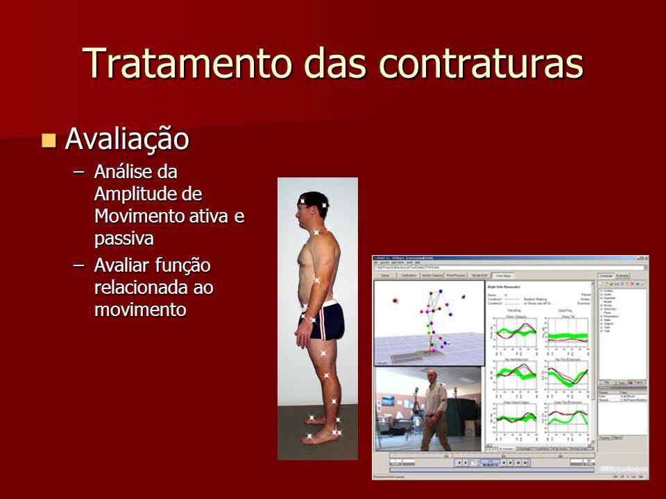 Tratamento das contraturas Avaliação Avaliação –Análise da Amplitude de Movimento ativa e passiva –Avaliar função relacionada ao movimento